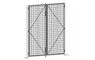 "All double swing gates are equipped with a padlock hasp, hinges and door stoppers. Gates can be installed in two different orientations (open inwards or outwards). Additional lock options are also available. Doors are made of 2"" x 2"" x 10 GA welded wire mesh framed in 1 1/4"" x 1 1/4"" x 12GA structural angle with two welded 1/2""ø reinforcement rods from center to the corner."