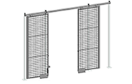 "Cogan bi-parting sliding gates are available in a similar range of convenient sizes as our sliding gates. Ideal for use in constricted areas. All bi-parting sliding gates are equipped with a padlock hasp. Additional lock options are also available. Doors are made of 2"" x 2"" x 10 GA welded wire mesh framed in 1 1/4"" x 1 1/4"" x 12GA structural angle with two welded 1/2"" ø reinforcement."