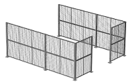 "This partition system features freestanding posts up to 24' high. Standard post spacing is 2' to 10' center-to-center. Custom post spacing is also available. Ideal for creating a secured perimeter in any manufacturing or warehouse facility. Panels are made of 2"" x 2"" x 10 GA welded wire mesh framed in 1 1/4"" x 1 1/4"" x 12GA structural angle with one or two welded 1/2"" ø reinforcement rods."