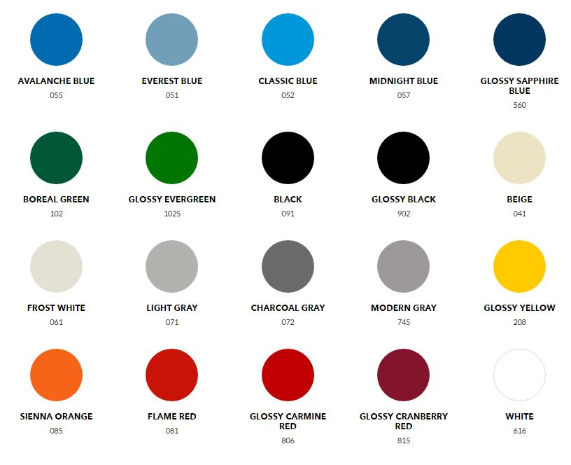 Standard Colours - no extra charge