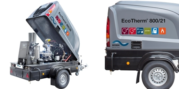 EcoTherm  The hot water EcoTherm trailer excels in its performance. Cleaning with hot water is in some cases more effective than with cold water. This means there less pressure is needed to carry out similar cleaning.