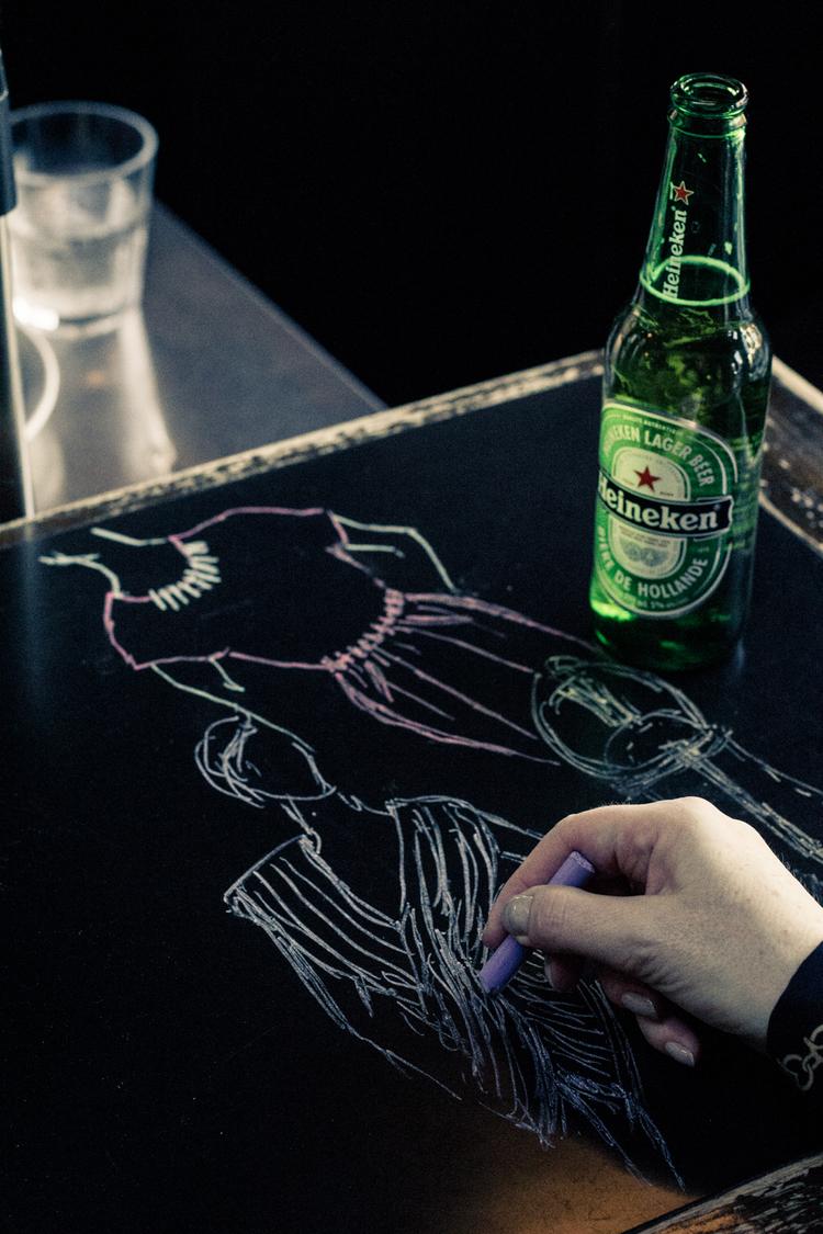 Bar top impromptu fashion sketches - Photo credit: Helena McMurdo