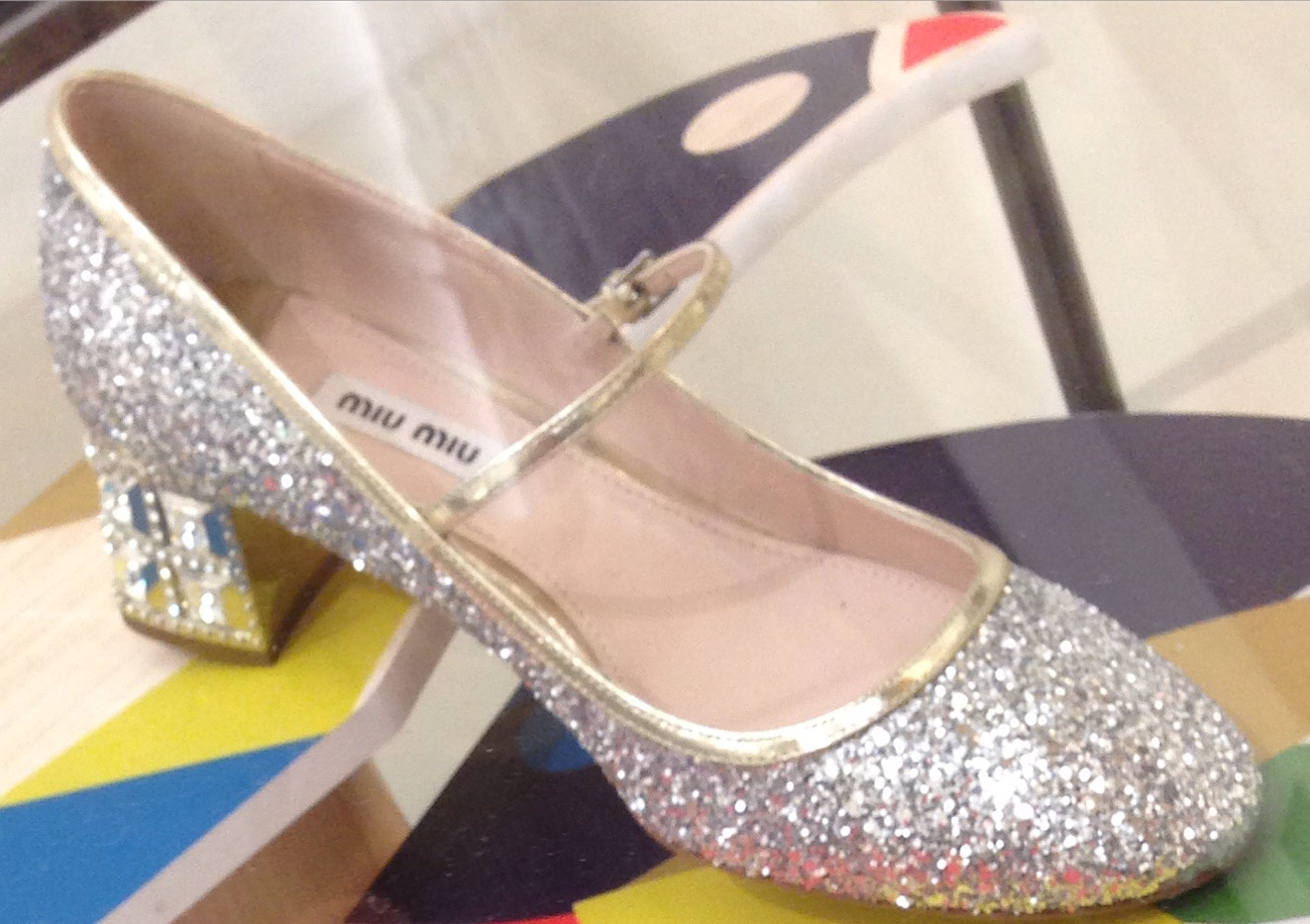 Miu Miu shoe detail at Nordstrom - Proof that something that sparkles can also be sensible.   - Photo credit Heather Phillips