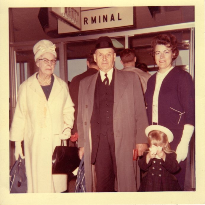 1965 - Welcoming the grandparents at Dorval Airport. The flashbulb on Dad's camera always blinded me so I was prepared.  That's what gloves are for.  This photo indicates my early fashion influences - you'd never guess that Grammy and Papa were farmers.