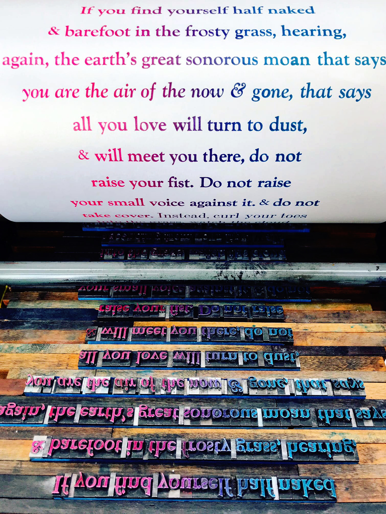 "on the Vandercook, Ross Gay's poem ""Thank you"""