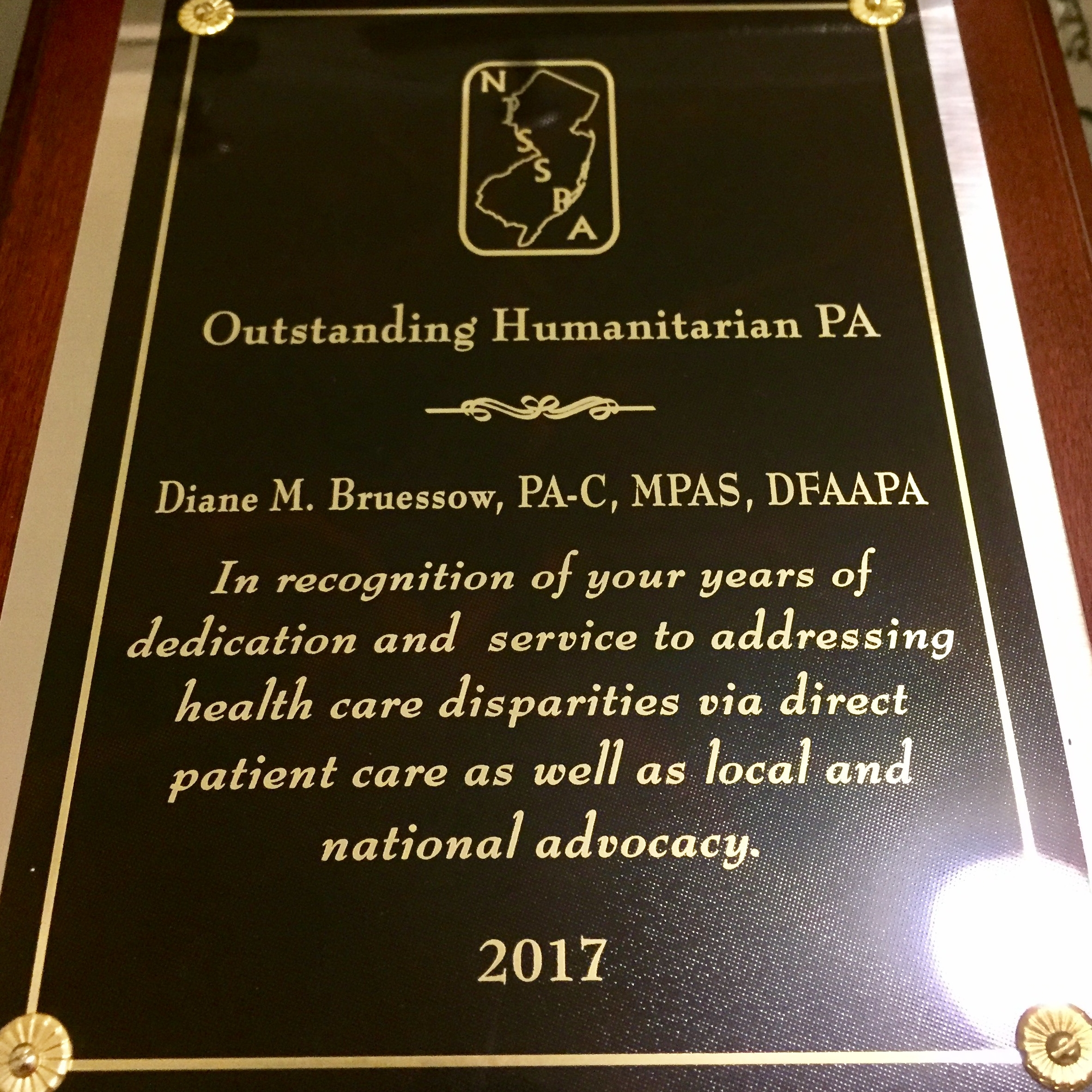 New Jersey State Society of PAs: Outstanding Humanitarian PA Award 2017