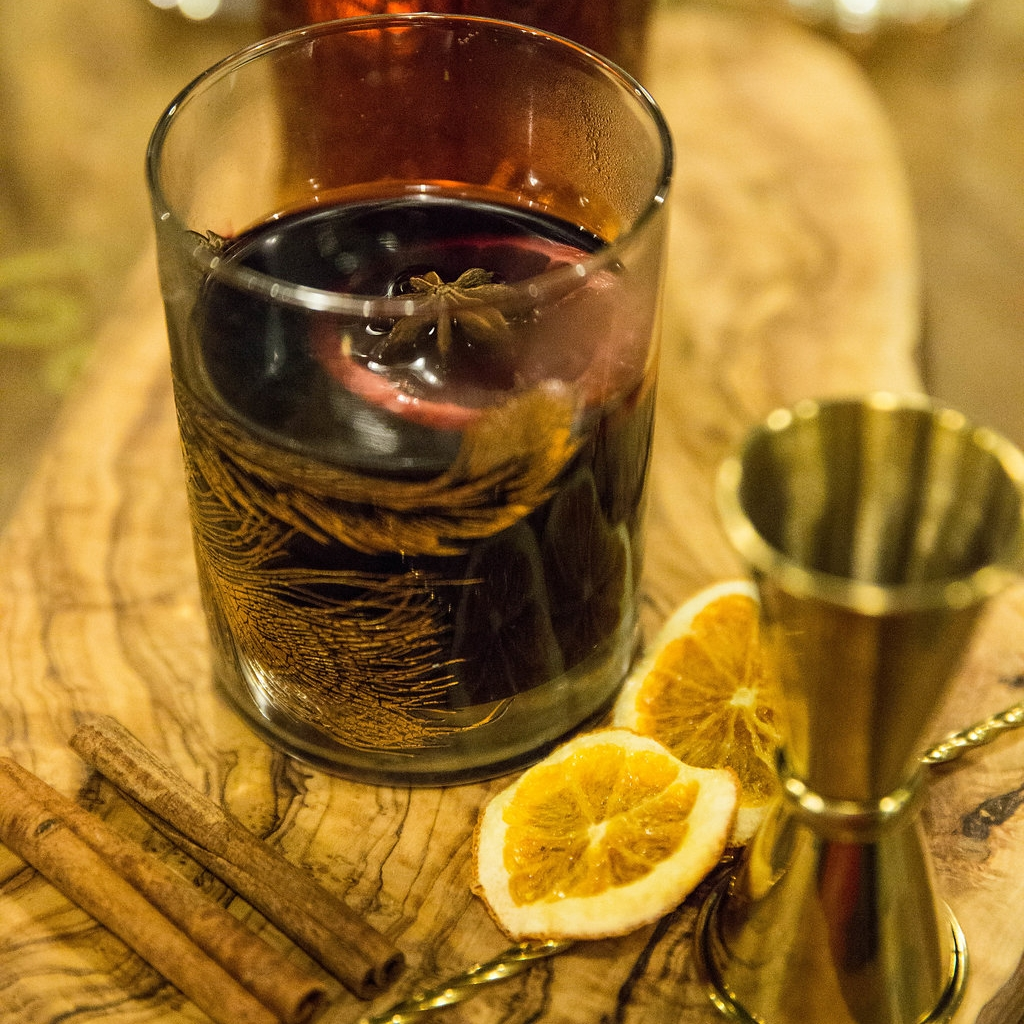 MULLED WINE (GLUEWEIN) - Ingredients:1 (750 ml) bottle of dry red wine1 orange, sliced into rounds1/4 cup brandy (optional)1/4 cup honey or sugar8 whole cloves2 cinnamon sticks2 star aniseDirections:Combine all ingredients in a non-aluminum saucepan, and bring to a simmer (not a boil — you don't want to boil the alcohol out!) over medium-high heat. Reduce heat to medium-low, and let the wine simmer for at least 15 minutes or up to 3 hours. Strain, and serve warm with your desired garnishes