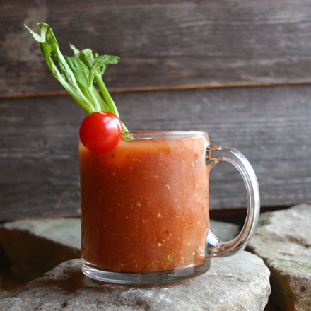 Scratch-made bloody mary - Ingredients:2oz. Vodka4oz. Clamato Juice or Fresh Tomato Juice (Recipe below).5oz Fresh Lemon Juice or quarter piece of lemon3 - 4 slices Jalapeno2 tsp Horseradish2 - 3 tsp WorcestershireFresh Ground Black PepperSaltTabascoDirections:1. Rub the rim your drinking glass with lemon slice and dip in your salt mixture.2. Squeeze juice from lemon into mixing tin and then drop lemon piece in the tin3. Add Jalapeno slices to bottom of tin and muddle along with the lemon if you wish to add heat to your drink (skip this step if not using jalapeno)4. Add vodka, Clamato Juice, Horseradish, Worcestershire, Pepper, Salt and Tabasco to taste.3. Shake and strain over ice into drinking glassTo make Bloody Mary Mix: (Yields 2 servings)1 1/4 cups fresh tomato juice (from about 2 lbs of tomatoes)1/4 cup clam juice (can be found in your local grocery store)Put combined juices in a pitcher and stir.(Using a juicer is necessary to extract fresh tomato juice.)
