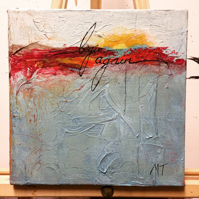 """We all need a new day every once in a while. You can have yours. """"Begin again."""" Mixed Media on 8 x 8 gallery wrap canvas. $110 (s/h incl'd, +$10 for int'l) (limit 1x) If this fresh piece calls to you and you'd like to bring her into your world, leave your email address in the comments and a paypal Invoice will be sent your way"""