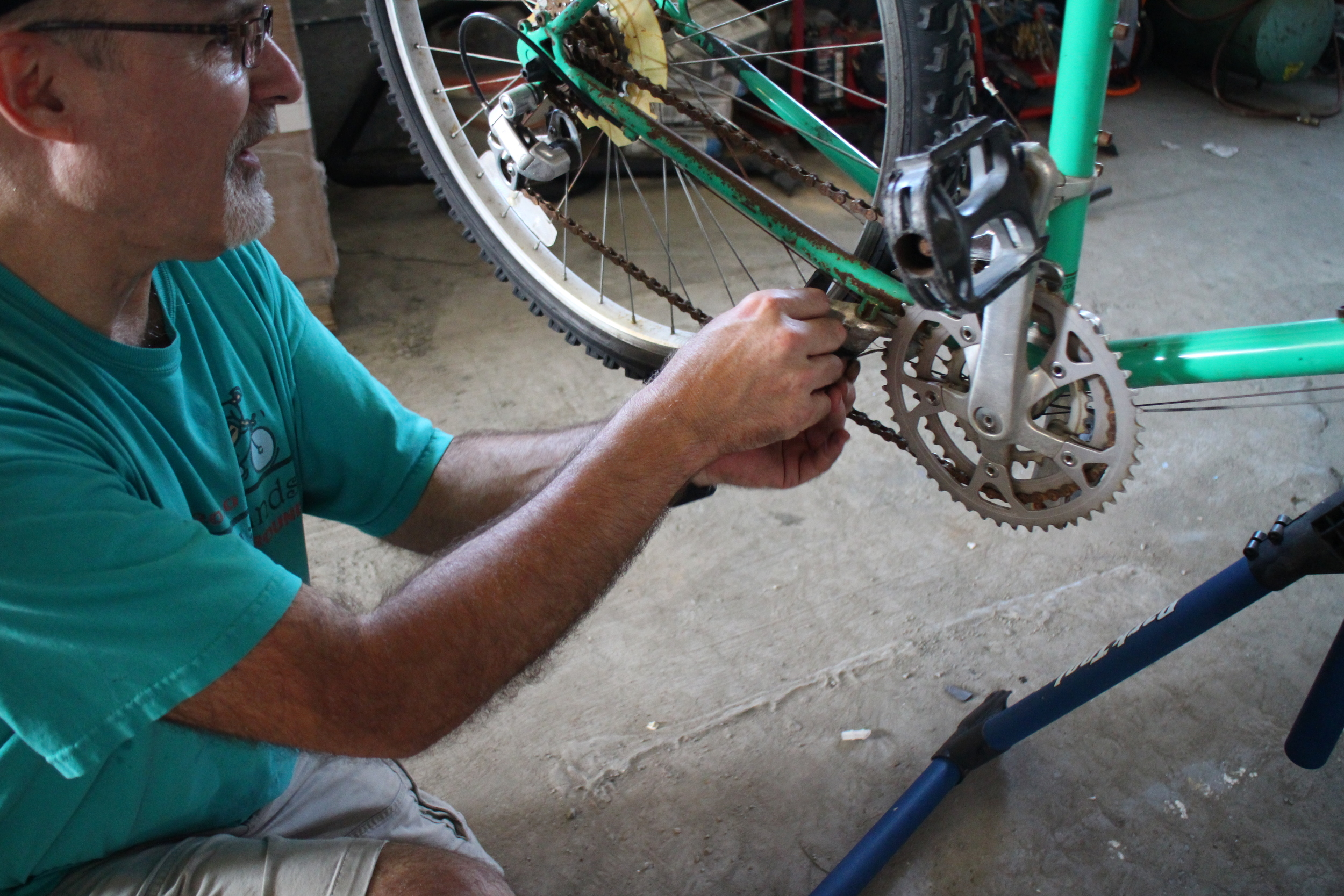 In the midst of it all, we were even able to get three bikes ready to be donated. Thank you, Doug Ryan for keeping our winning streak alive, Doug knows what he is doing. WE never have to photoshop pictures from doug's repairs.