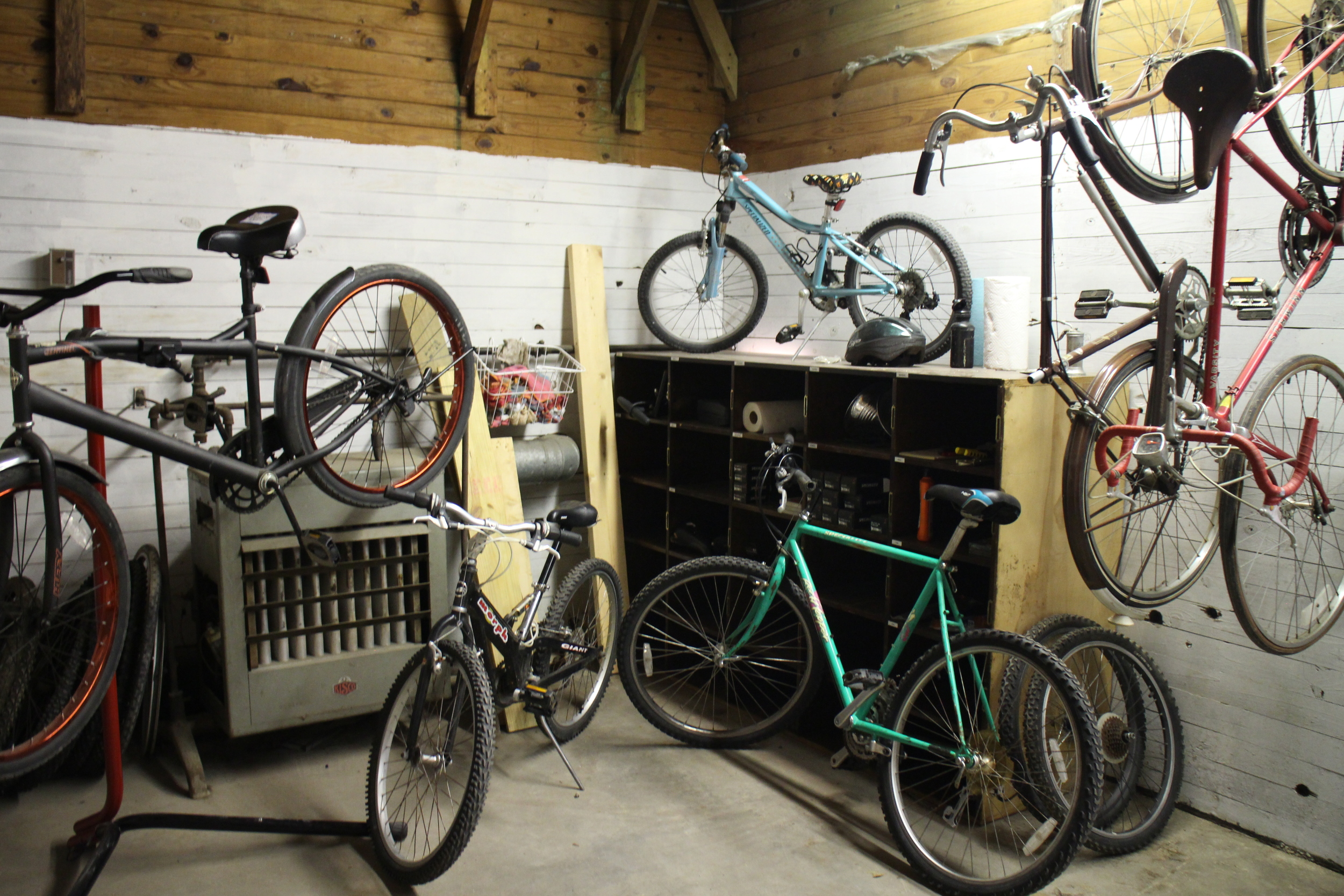 The results from one angle. We've got so much more space to collect and repair bikes now! The best part is we don't have to go outside to do our special rerun victory dance after a completed bike repair.