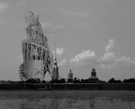 构成主义建筑经典范例几种:  塔特林塔(第三国际纪念碑)电脑模拟效果,未完成