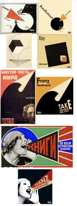 Franz Ferdinand的封面和所致敬的原作(利西茨基:《用红楔子打白军》;  利西茨基:《Proun》。  罗琴科:《世界的六分之一》电影海报;  罗琴科:列宁格勒出版社广告——海报中女子即为莉莉·布里克)