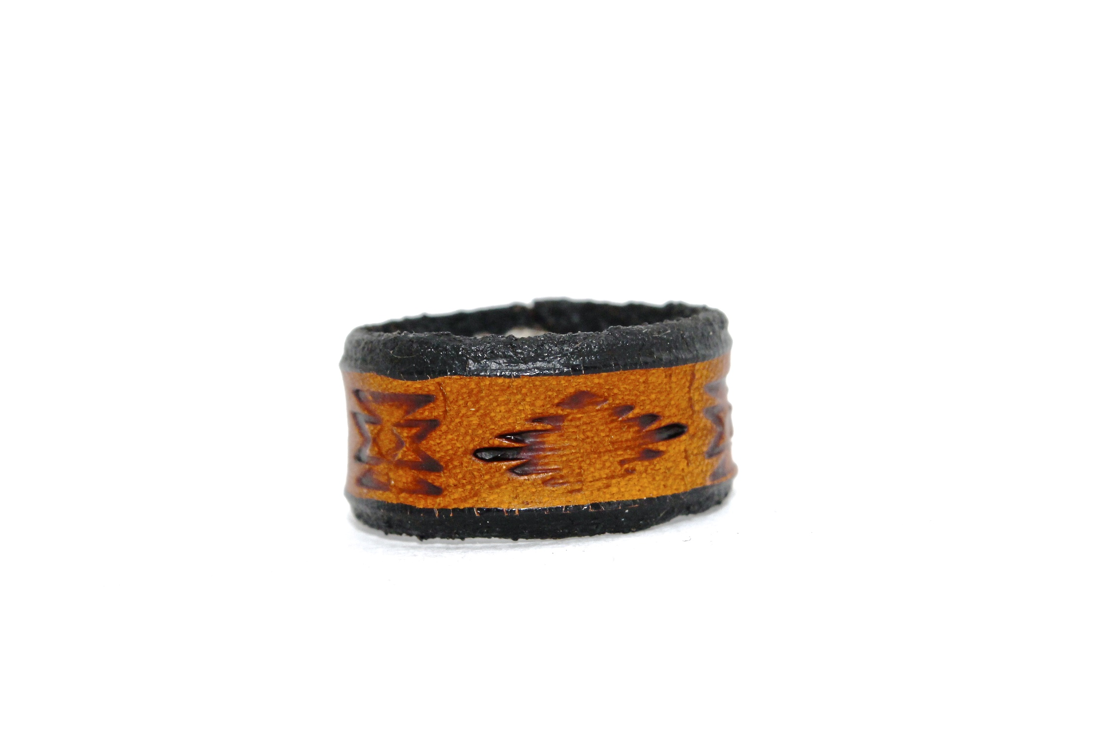 Aztec Band Leather Ring