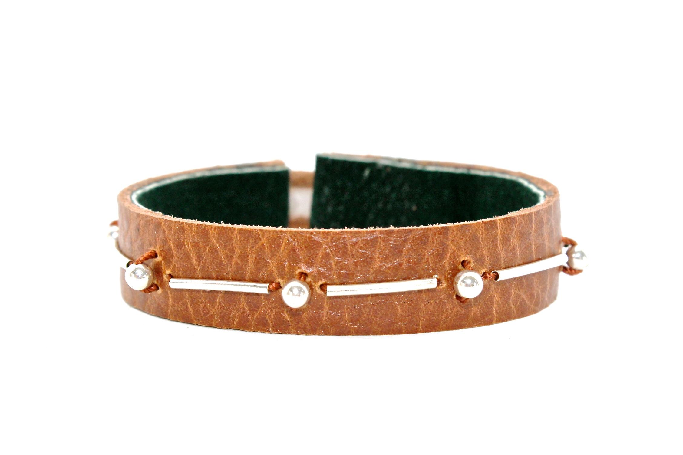 Leather + Silver Bracelet