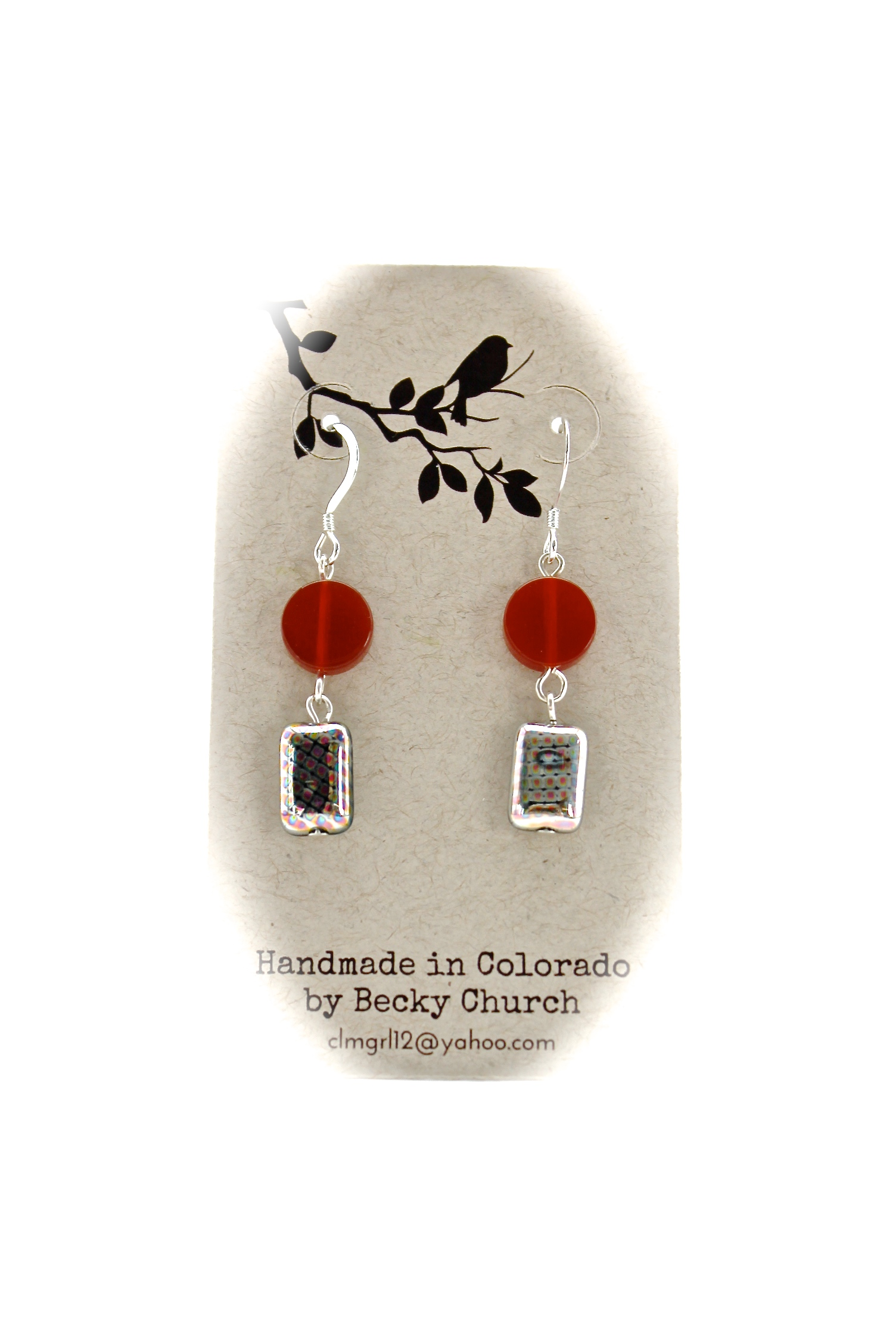 Red + Silver Earrings