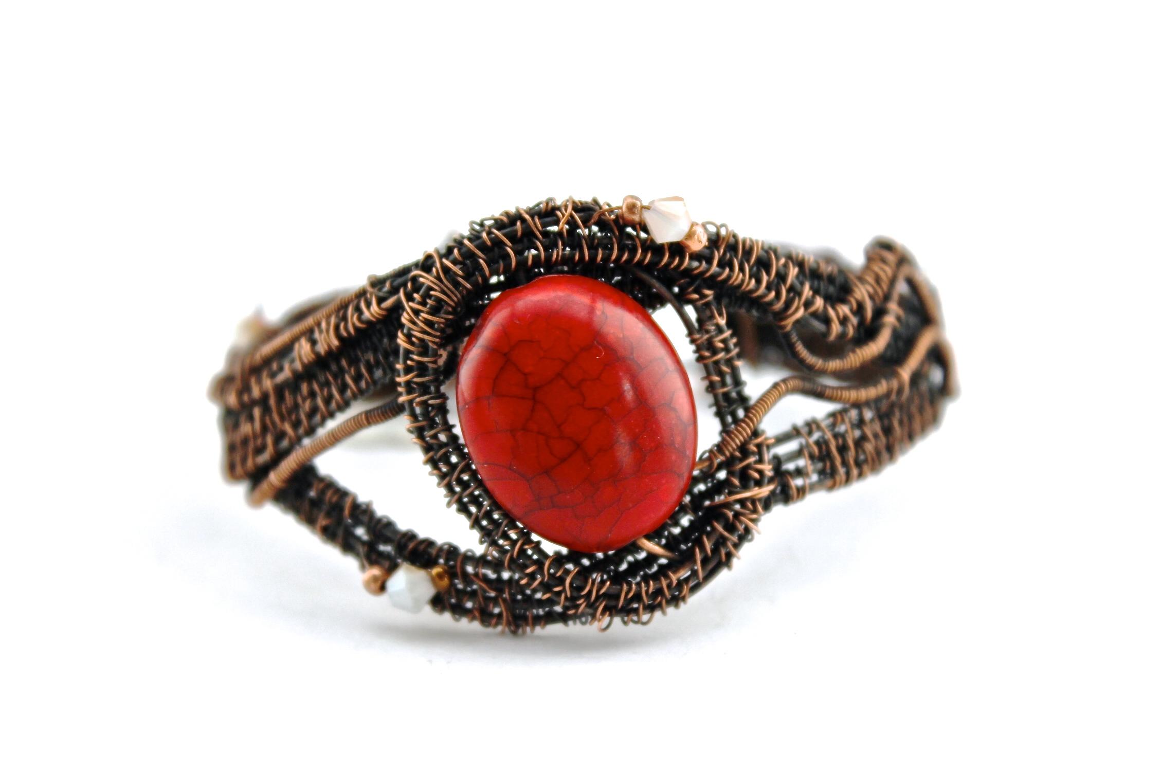 Red Stone + Wire Warp Bracelet