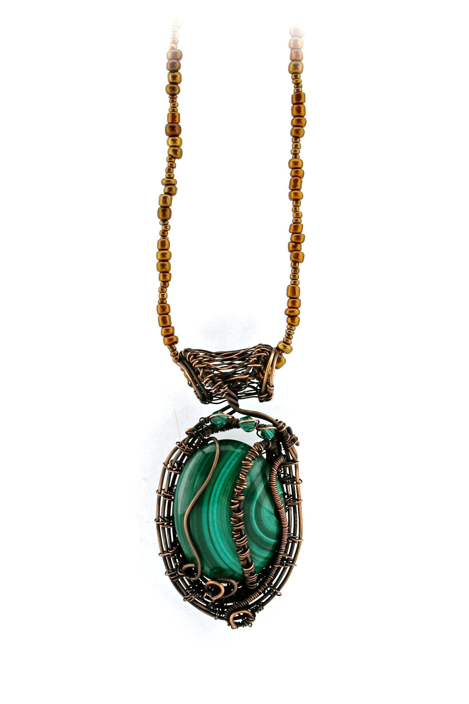 Green Stone + Wire Warp Necklace