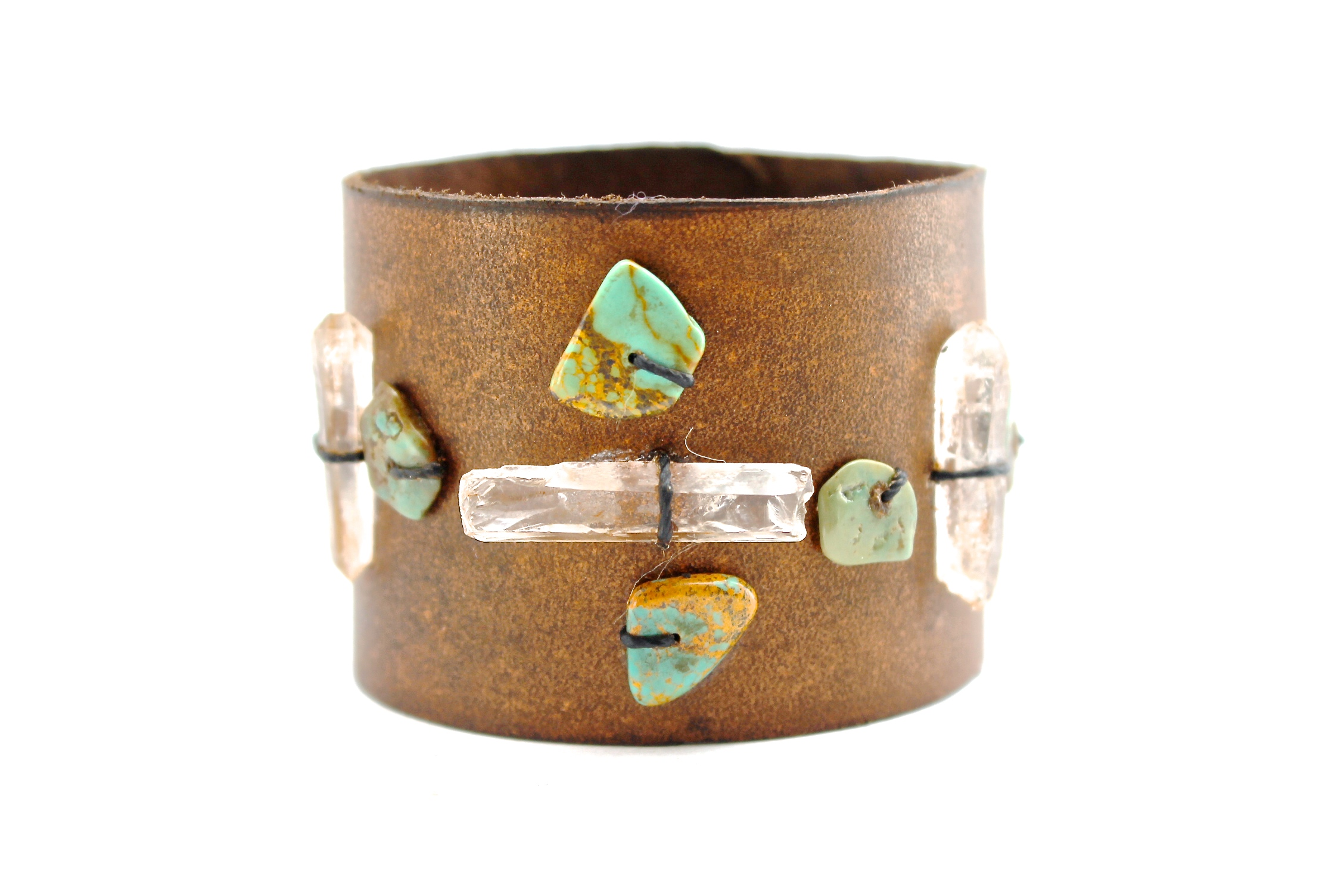 Crystal + Turquoise Leather Cuff