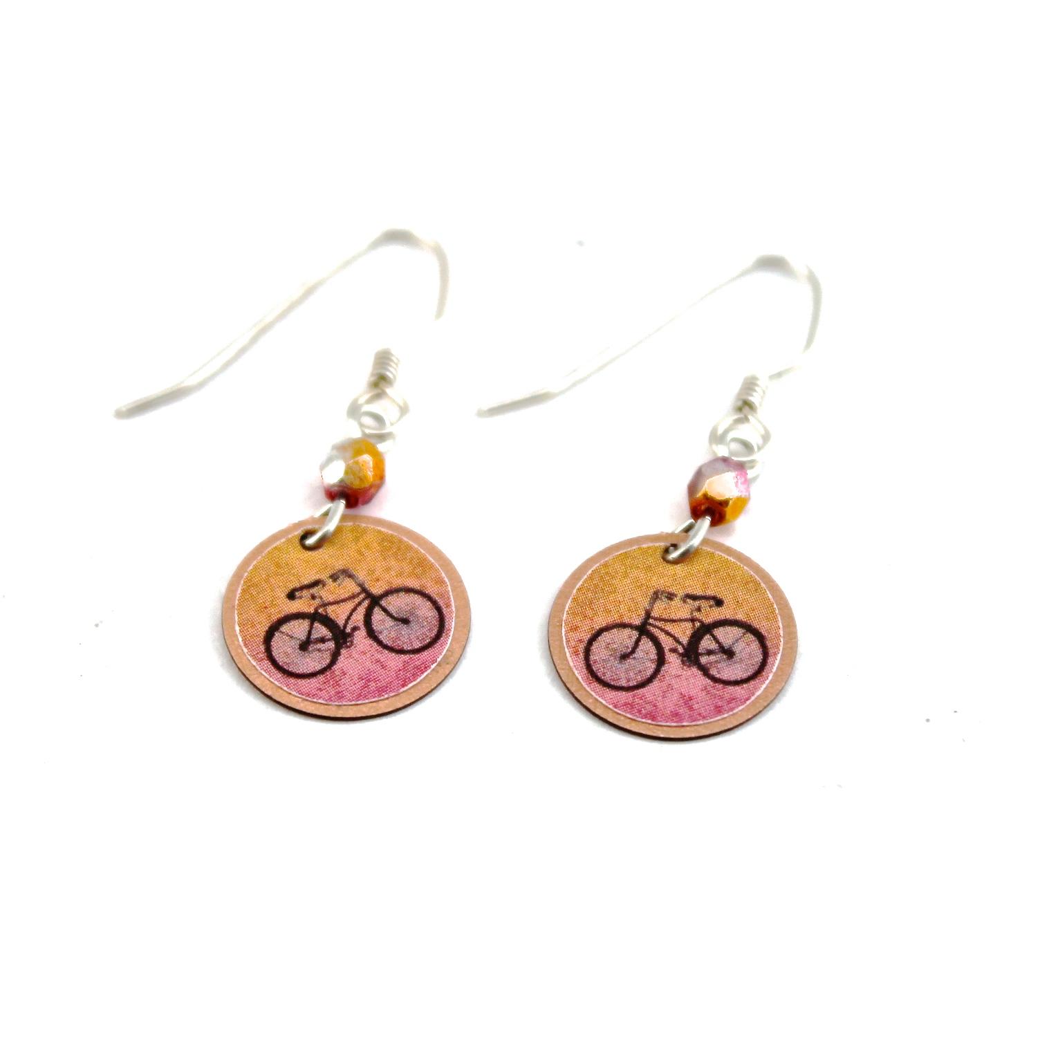 Bike Earrings | Pink & Orange
