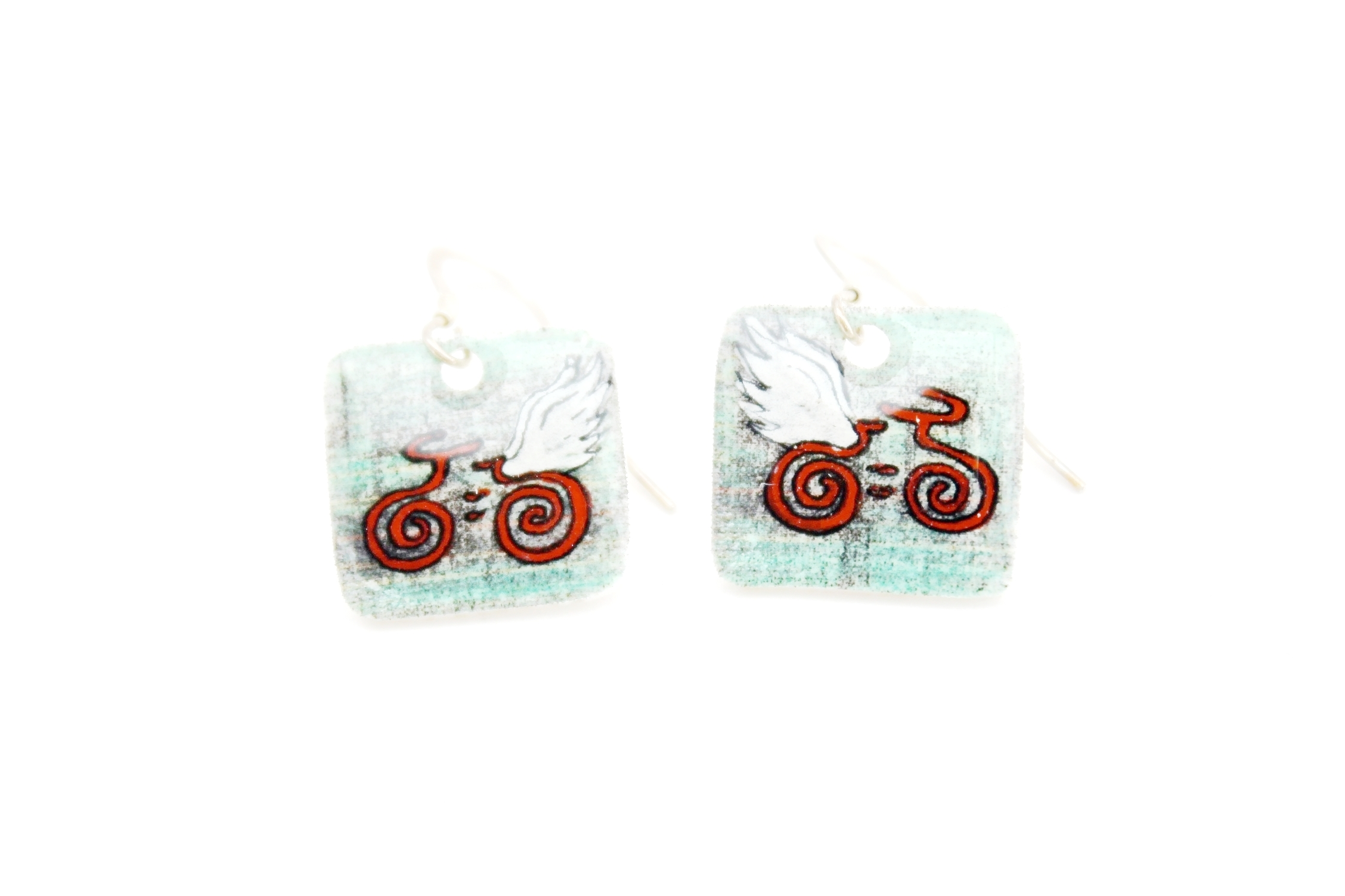 Guardian Angel Earrings | Light Blue & Red