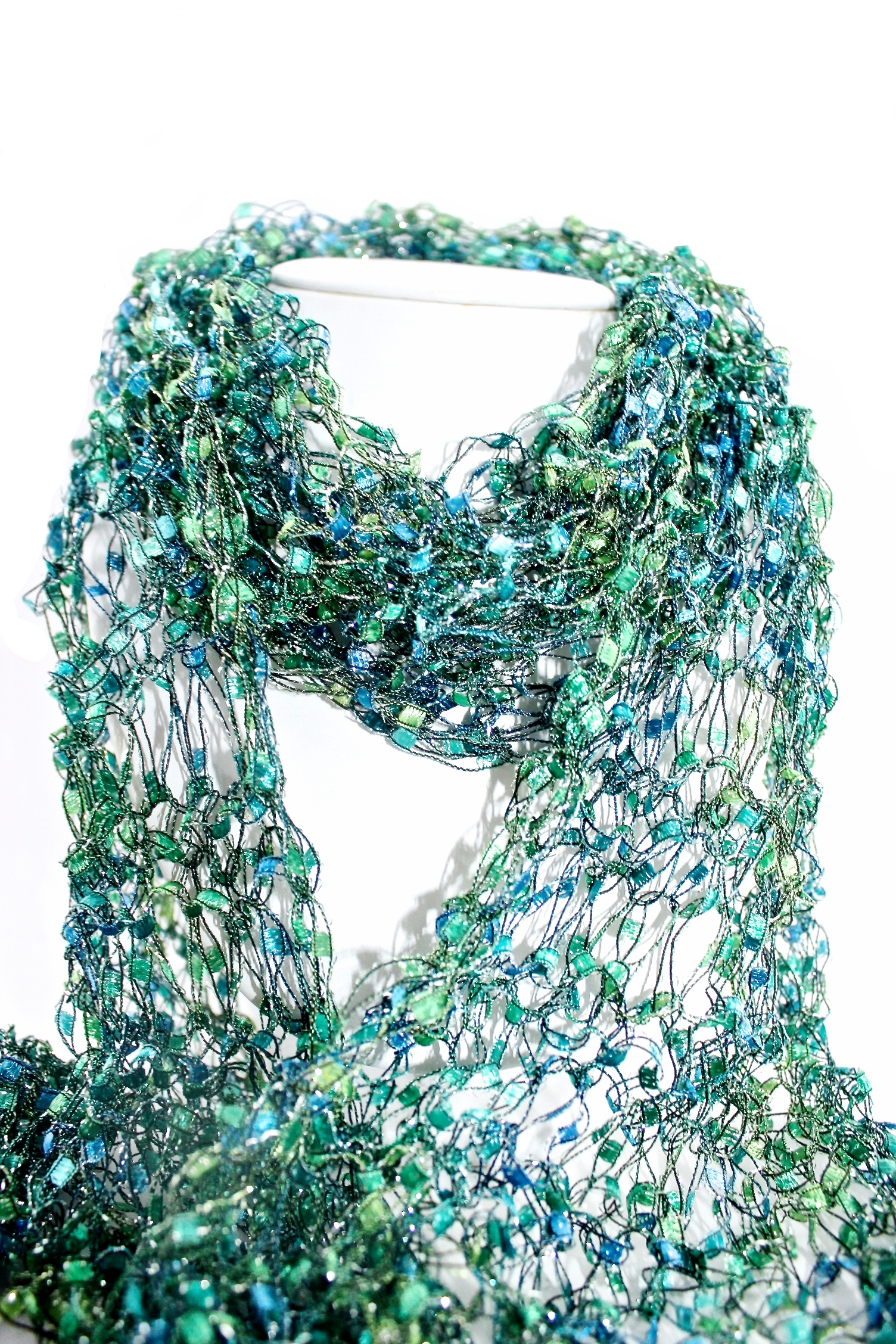Blue & Green Knitted Scarf