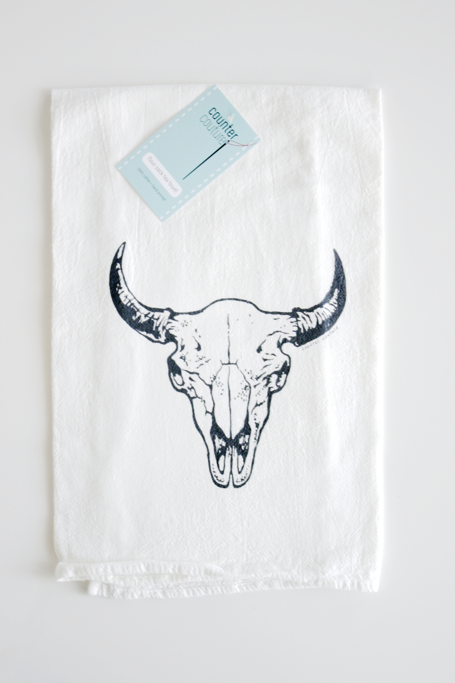 Buffalo Skull Tea Towel