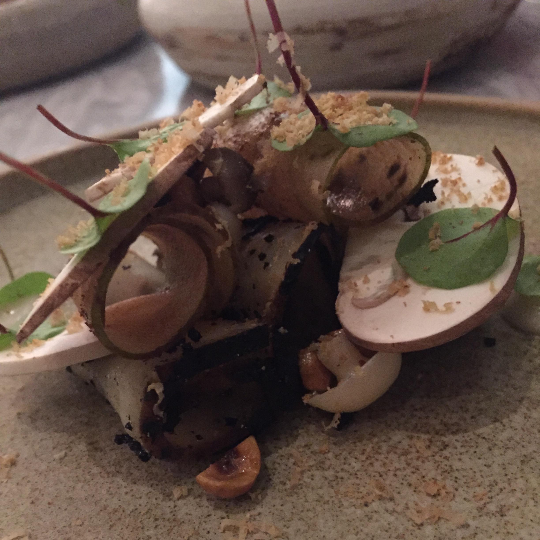celeriac, pear, fermented mushrooms & hazelnuts