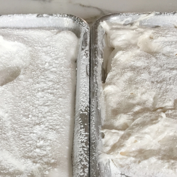 The perfect marshmallow texture on the left. On the right, marshmallows that were whipped too long after they had cooled.