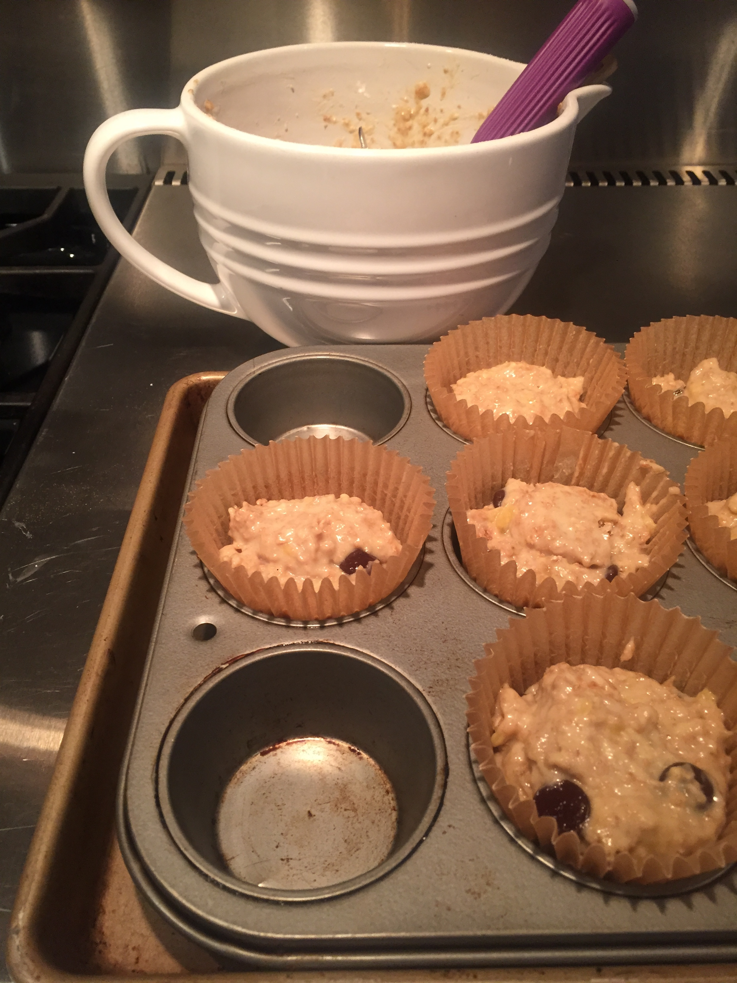 TIP: If you find your muffins burn on the bottoms, place a baking sheet under your muffin tin.