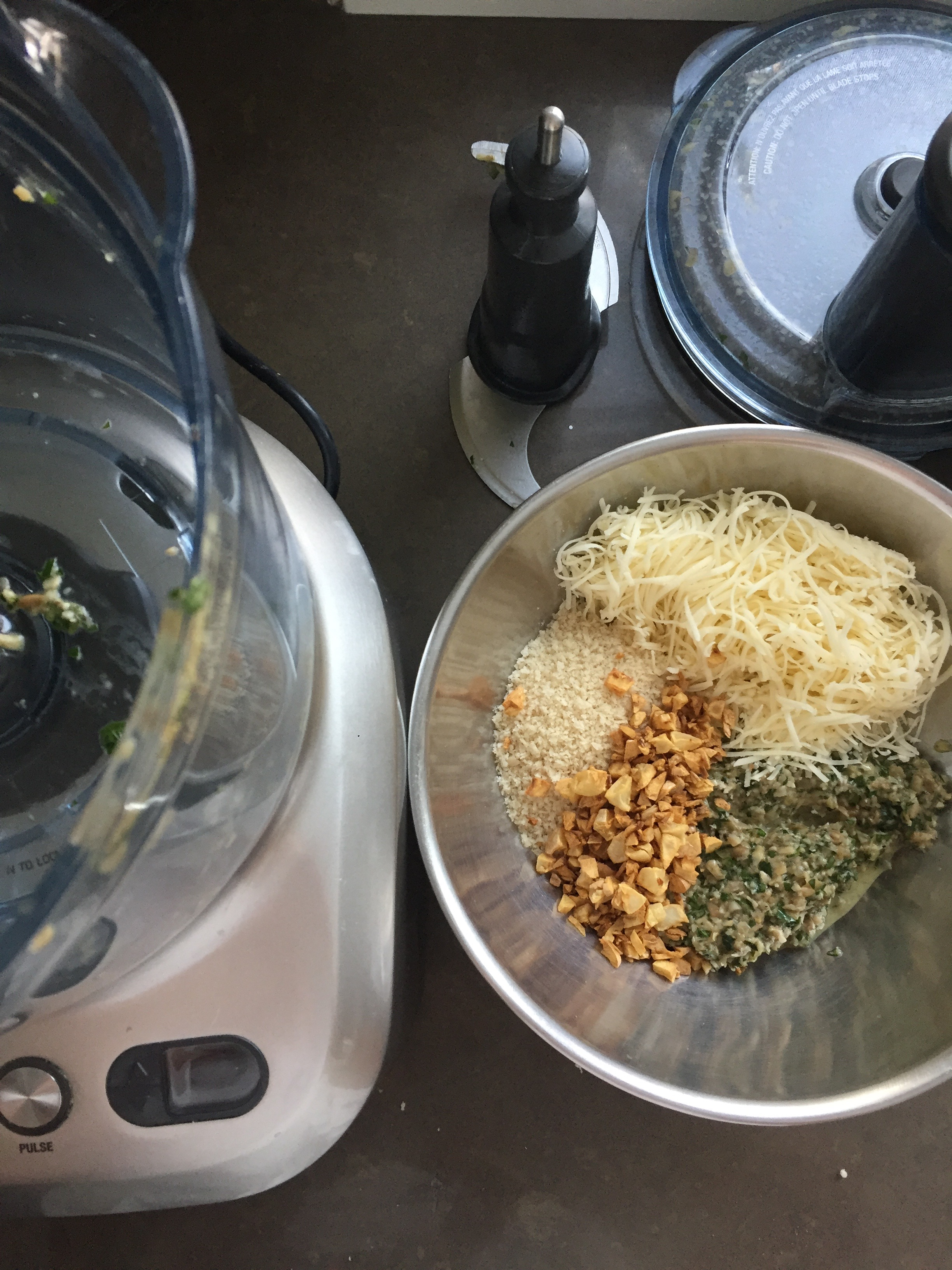 The filling comes together quickly in a food processor