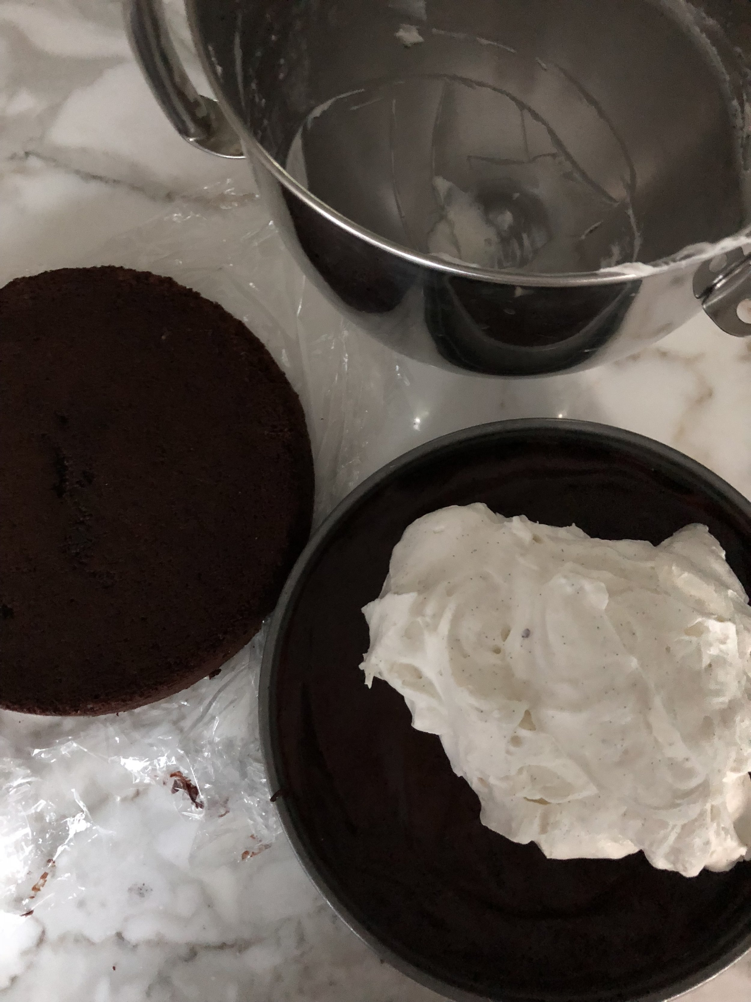 Next:  A layer of cream over the chilled ganache