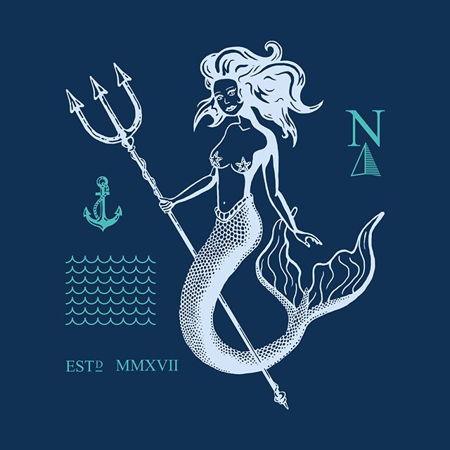 Playing with some new styles and colors. Which color theme do you like most? _ #design #graphicdesign #art #artwork #mermaid #nautical #ocean #trident #sea #sailor