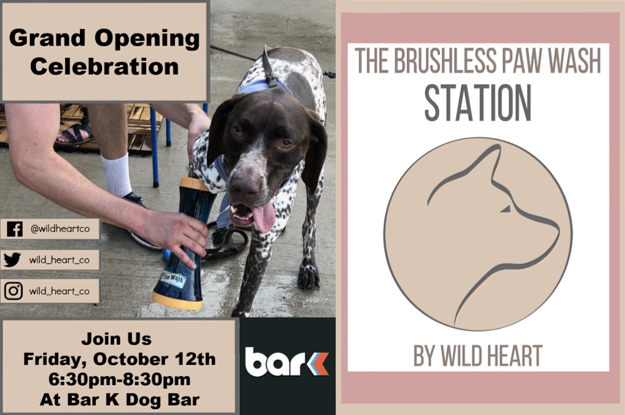 Wild Heart Brushless Paw Wash Station Grand Opening Event at Bar K Dog Bar