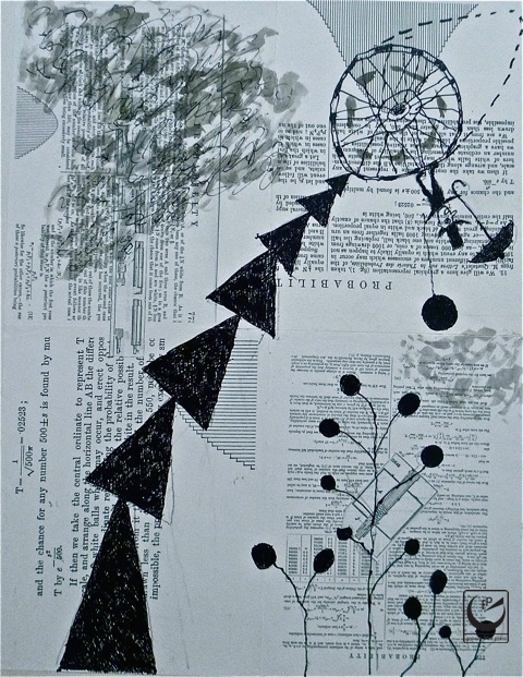 """Gravity Free(dom). India Ink & Collage. 17 x 22"""""""