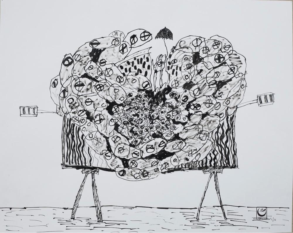 """Smorgasbord, India Ink, 18 x 24"""""""