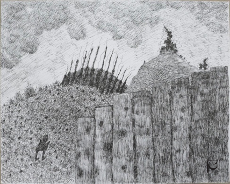 """A Gap in the Fence, Uniball Pen, 18 x 24"""""""