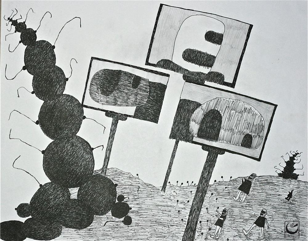 "They Worship Billboards, Uniball Pen, 18 x 24"""