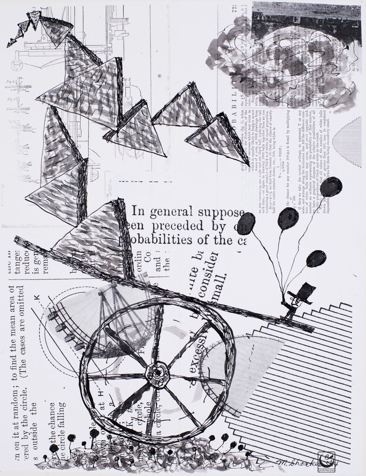 """Unsteady Balance, India Ink & Collage, 17 x 22"""""""