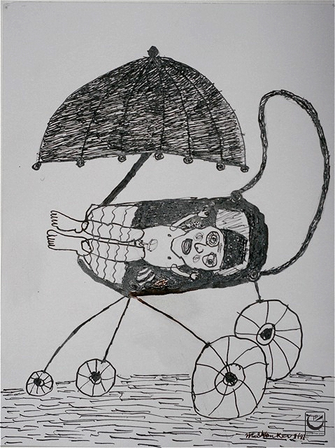"""Baby Carriage, Ink on paper, 8 x 10,"""" 2012"""