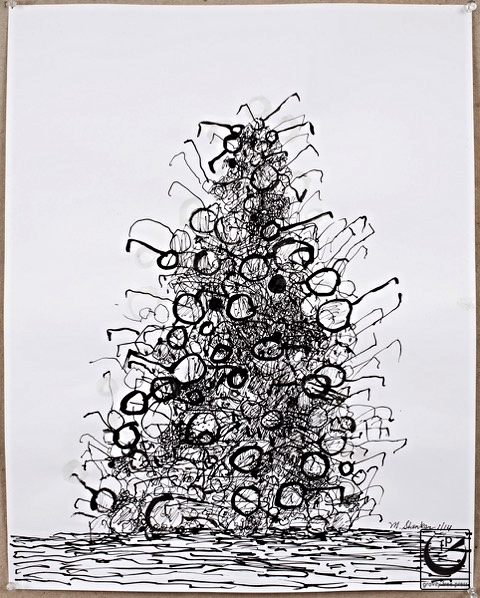 """Pile of Spectacles II, pen + ink, 22"""" x 26,"""" 2014"""