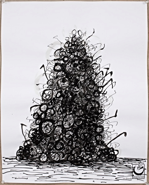 """Pile of Spectacles I, pen + ink, 22"""" x 26,"""" 2014"""