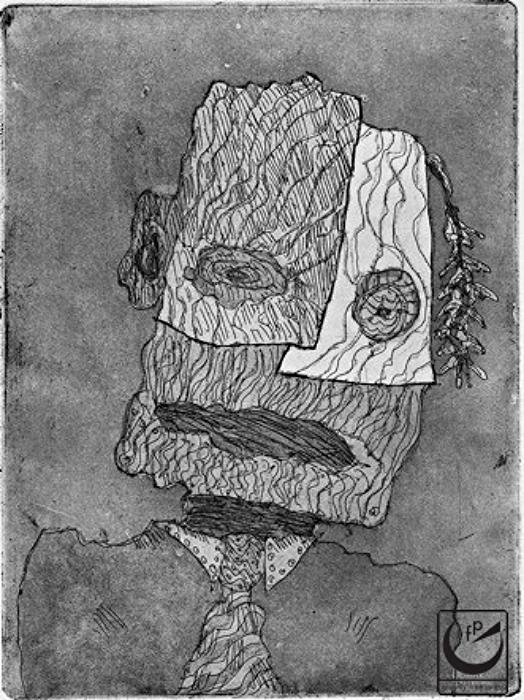 Kavesa de lenyo.  A head of wood.