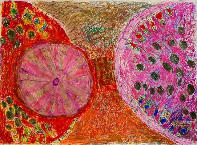 """Coney, Monotype, Gouache + wax crayon, 13 x 18,"""" 2016"""
