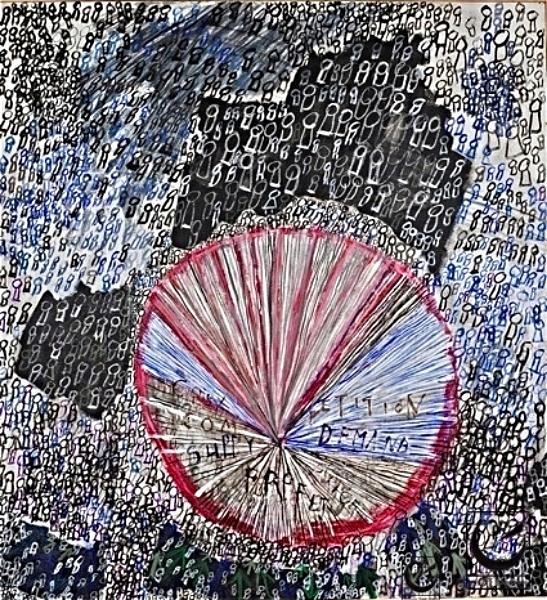 "Eco Mandala, acrylic on canvas, 46 X 52,"" 1999"
