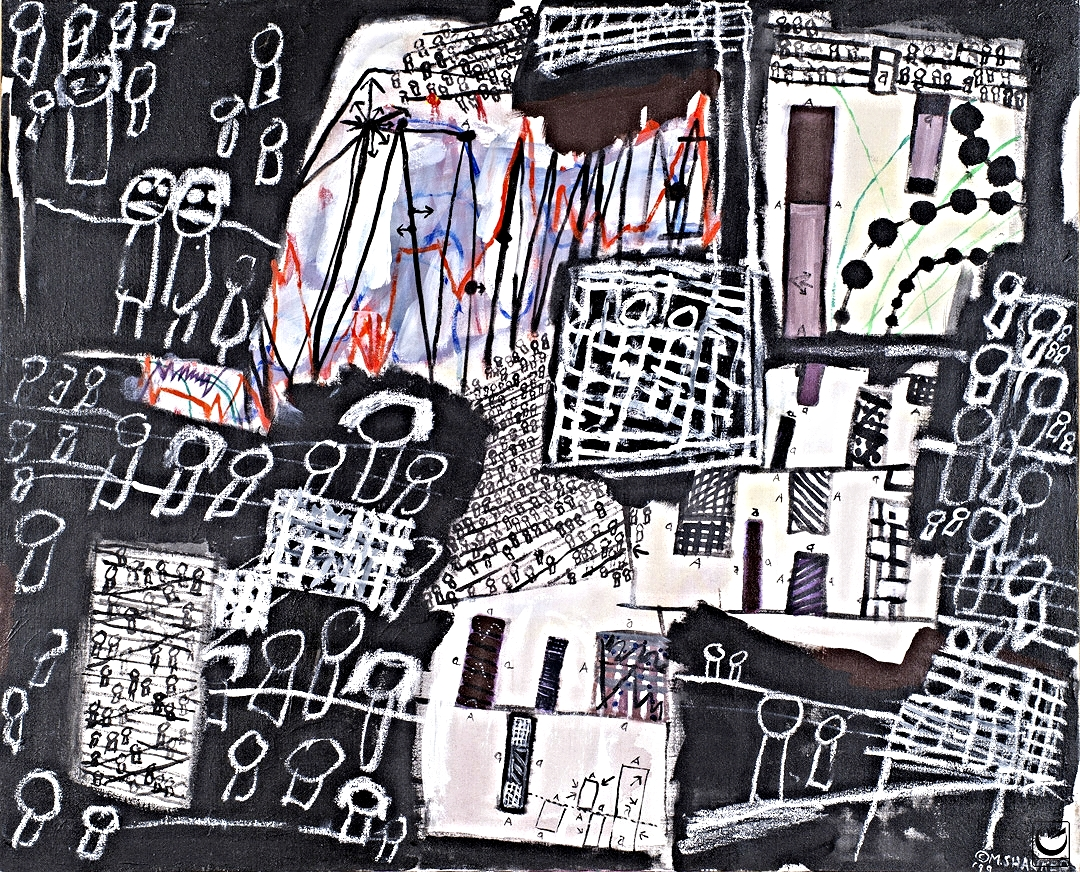 "CAUGHT IN A WEB OF CHARTS: ECO SERIES, ACRYLIC ON CANVAS, 26 x 32,"" 1999"