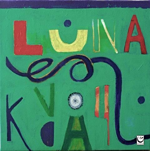 """Luna Freefall, acrylic on canvas, 16"""" x 16,"""" 2016"""
