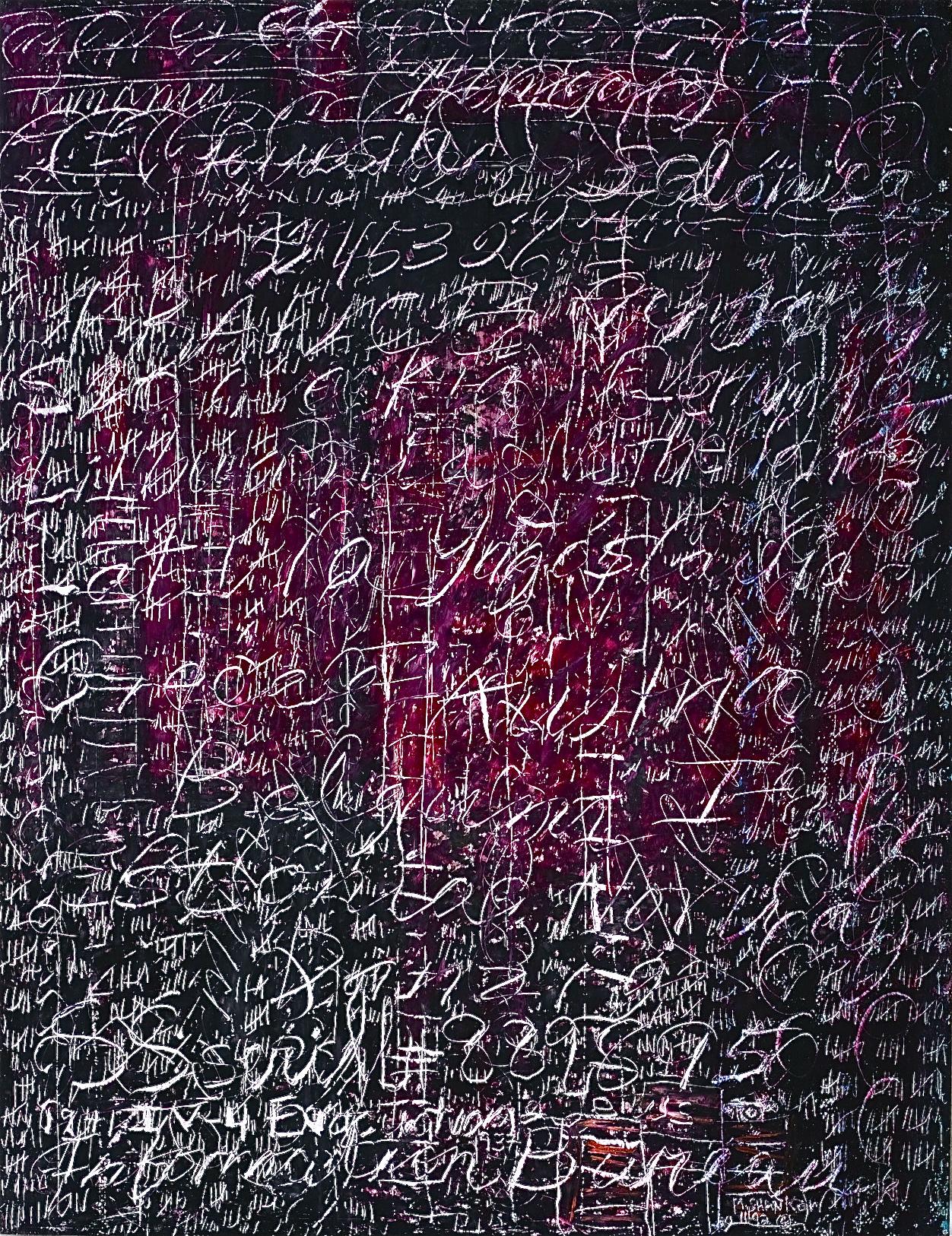 """Portrait of Adolf Eichmann , 18"""" x 24,"""" wax crayon on paper, 1992"""
