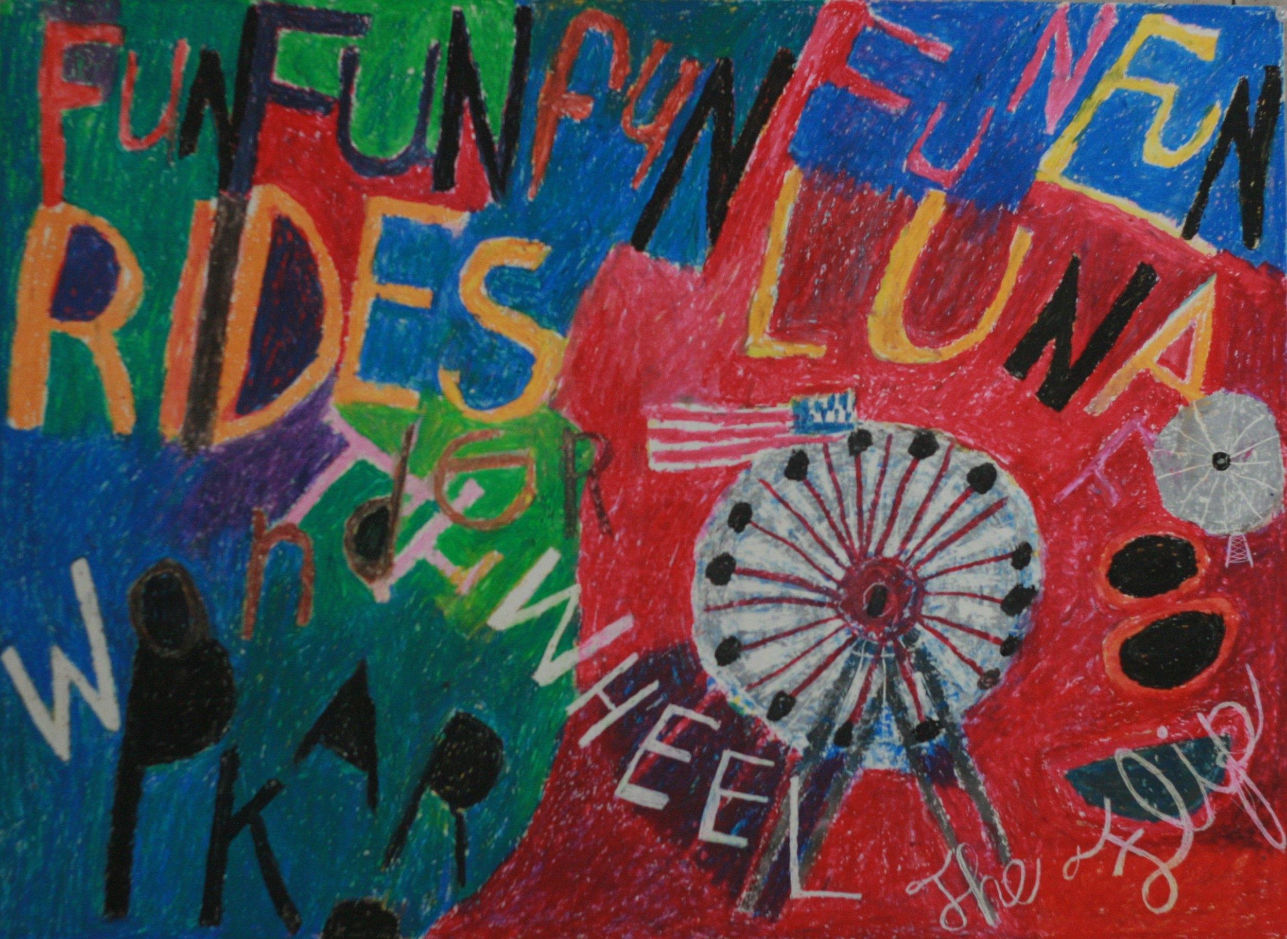 "Luna Rides. 22"" x 30."" Wax crayon on paper. 2016."