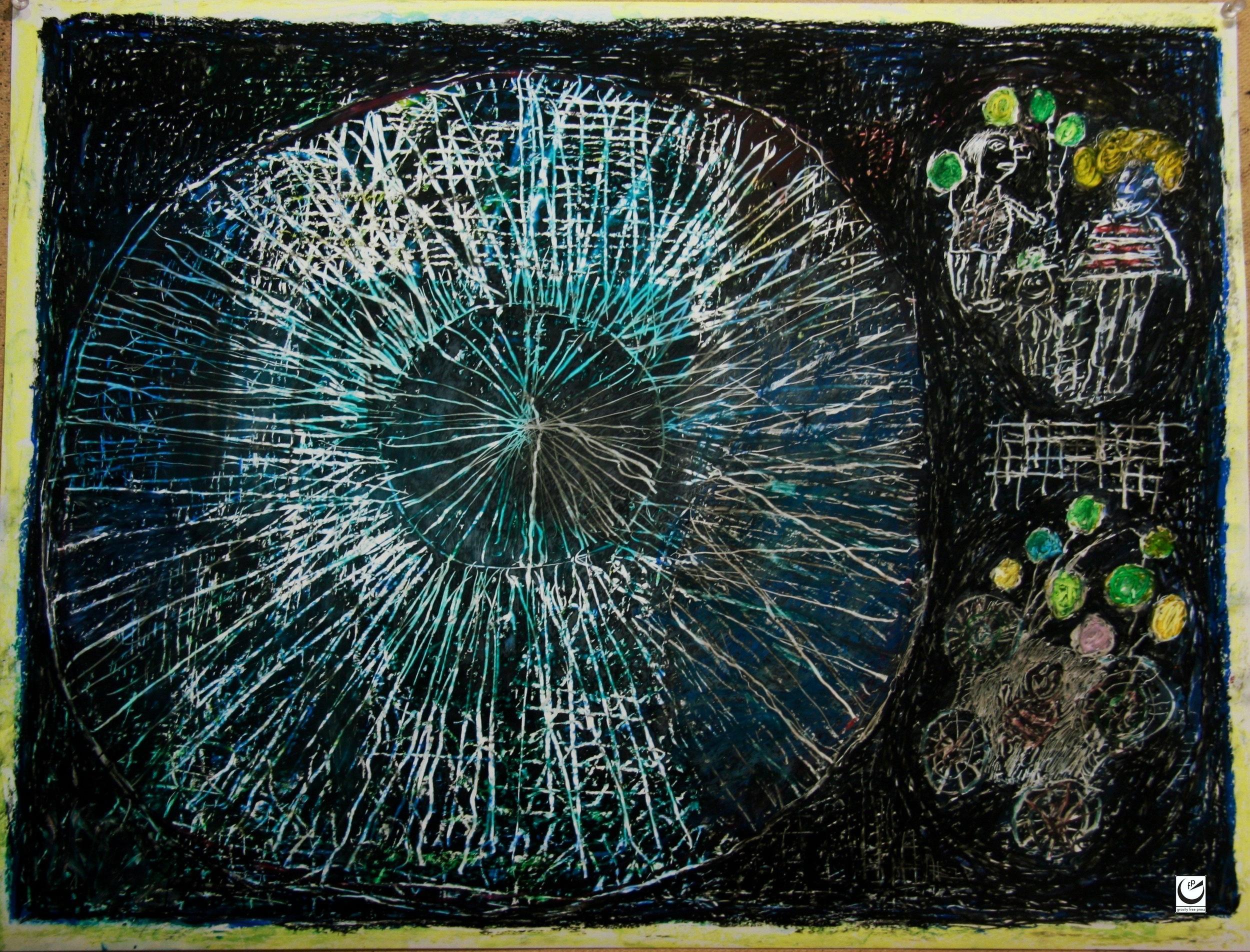 "Luna Park Series, wax crayon on paper, 20"" x 26,"" 2017"